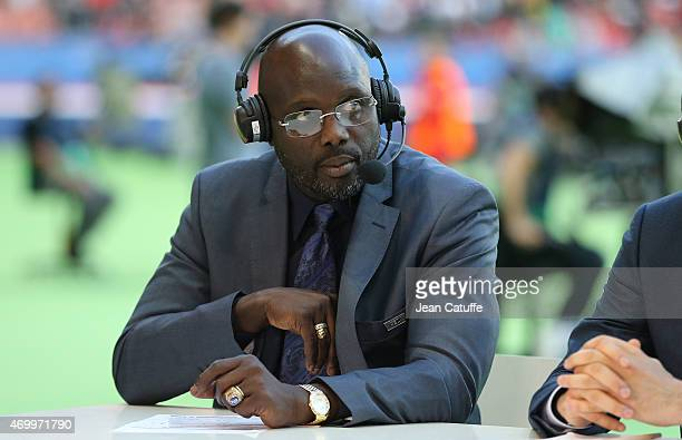 George Weah comments the UEFA Champions League quater final first leg match between Paris SaintGermain and FC Barcelona at Parc des Princes stadium...