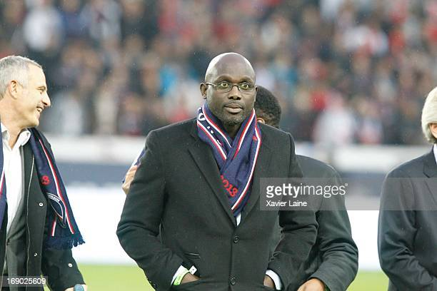 George Weah seen during the French League 1 between Paris SaintGermain FC and Stade Brestois 29 at Parc des Princes on May 18 2013 in Paris France