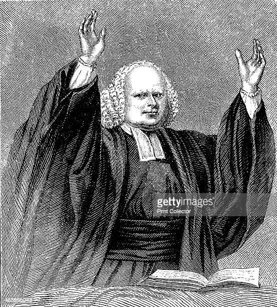 George Whitefield preaching c1850 English evangelist and a founder of Methodism preaching Wood engraving