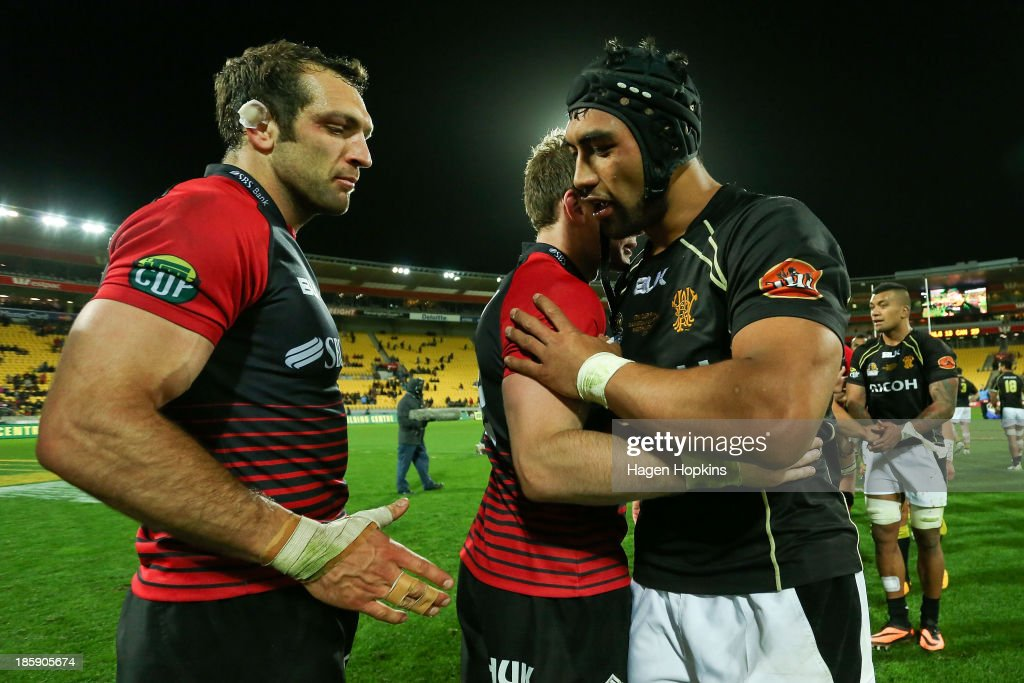 George Whitelock of Canterbury waits to shake the hand of Victor Vito of Wellington during the ITM Cup Premiership Final match between Wellington and...