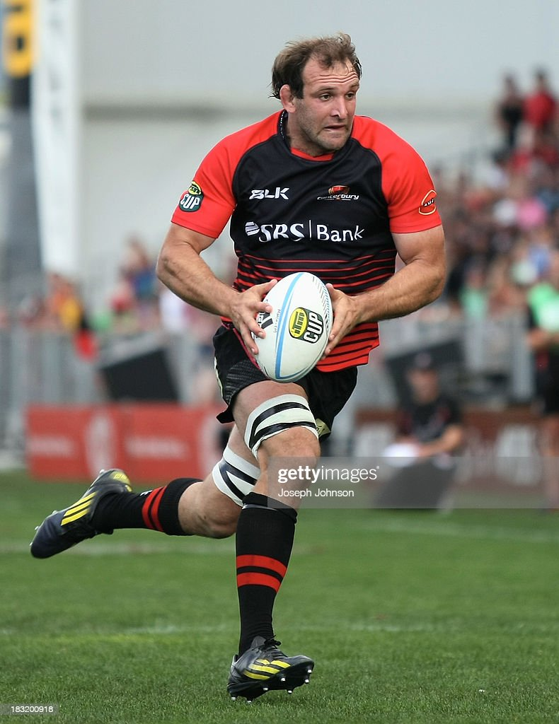 George Whitelock of Canterbury with the ball during the round eight ITM Cup match between Cantebury and Counties Manukau at AMI Stadium on October 6, 2013 in Christchurch, New Zealand.