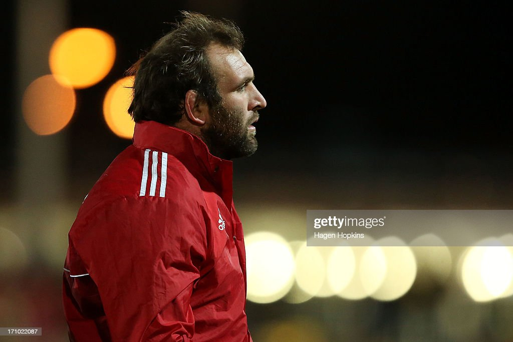 <a gi-track='captionPersonalityLinkClicked' href=/galleries/search?phrase=George+Whitelock&family=editorial&specificpeople=4532140 ng-click='$event.stopPropagation()'>George Whitelock</a> of the Crusaders looks on during the Super Rugby practice match between the Hurricanes and the Crusaders at Levin Domain on June 21, 2013 in Levin, New Zealand.
