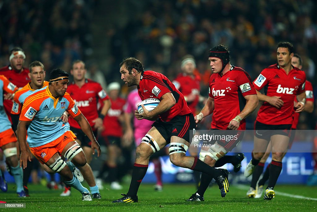 <a gi-track='captionPersonalityLinkClicked' href=/galleries/search?phrase=George+Whitelock&family=editorial&specificpeople=4532140 ng-click='$event.stopPropagation()'>George Whitelock</a> of the Crusaders takes the ball forward during the round 15 Super Rugby match between the Chiefs and the Crusaders at Waikato Stadium on May 24, 2013 in Hamilton, New Zealand.