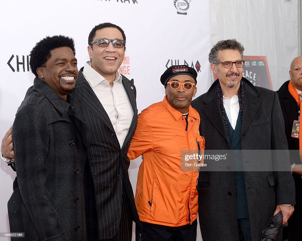 George Willborn Harry Lennix director Spike Lee and John Turturro attend the 'CHIRAQ' New York Premiere at Ziegfeld Theater on December 1 2015 in New...