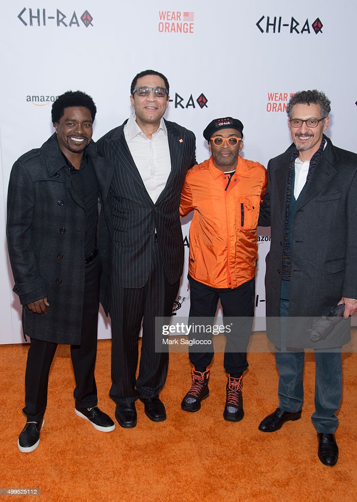 George Willborn Harry Lennix Director Spike Lee and John Turturro attend the 'CHIRAQ' New York premiere at the Ziegfeld Theater on December 1 2015 in...