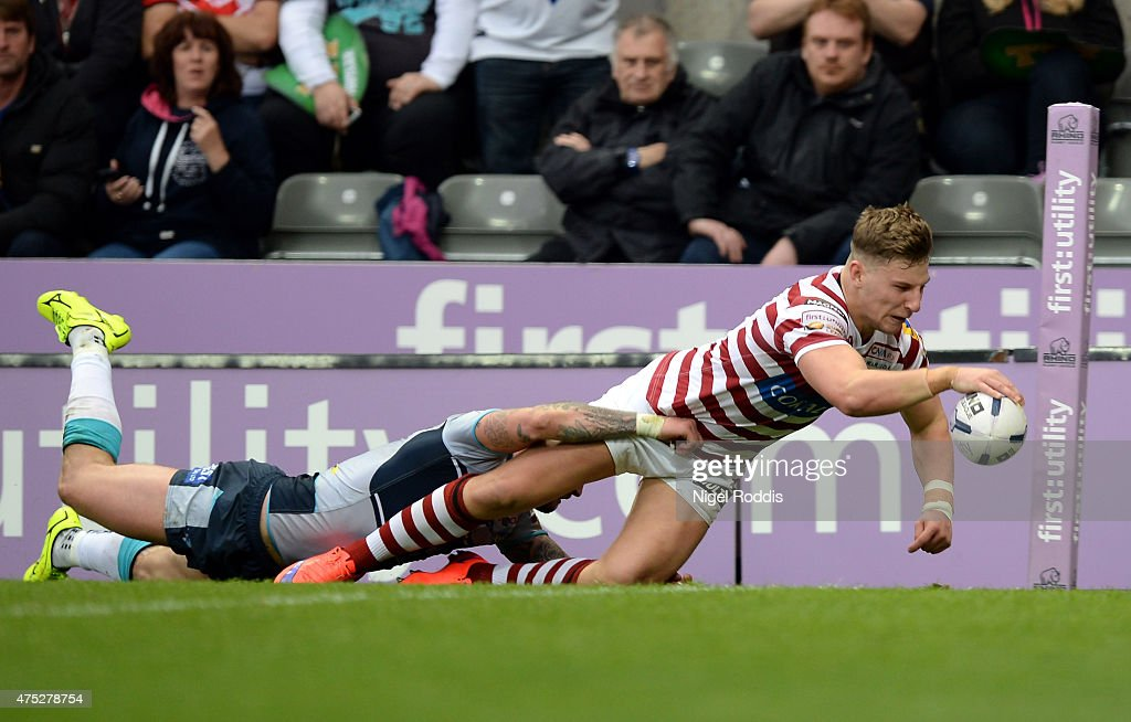 George Williams of Wigan Warriors scores a try during the Super League match between Leeds Rhinos and Wigan Warriors at St James' Park on May 30 2015...