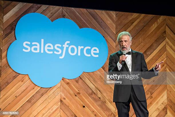 George Zimmer founder and chief executive officer of Generation Tux speaks during the DreamForce Conference in San Francisco California US on...