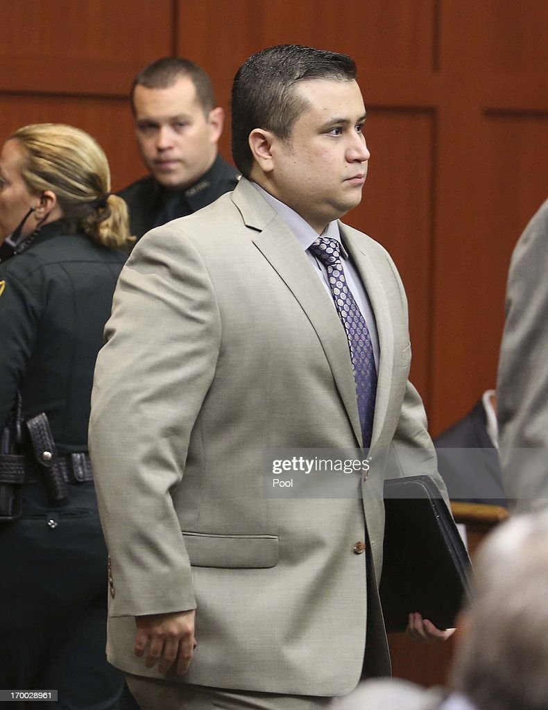 George Zimmerman, accused of the murder of Trayvon Martin, arrives for a pretrial hearing in Seminole circuit court June 6, 2013 in Sanford, Florida. A judge reportedly denied the defense request to let some witnesses testify in confidentiality and heard arguments as to whether voice identification experts will be allowed to testify.