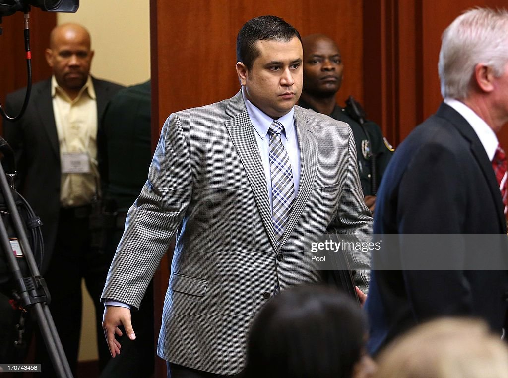 <a gi-track='captionPersonalityLinkClicked' href=/galleries/search?phrase=George+Zimmerman&family=editorial&specificpeople=9042868 ng-click='$event.stopPropagation()'>George Zimmerman</a> arrives in Seminole circuit court on the sixth day of his murder trial on June 17, 2013 in Sanford, Florida. Zimmerman has been charged with second-degree murder for the February 2012 shooting death of 17-year-old Trayvon Martin.