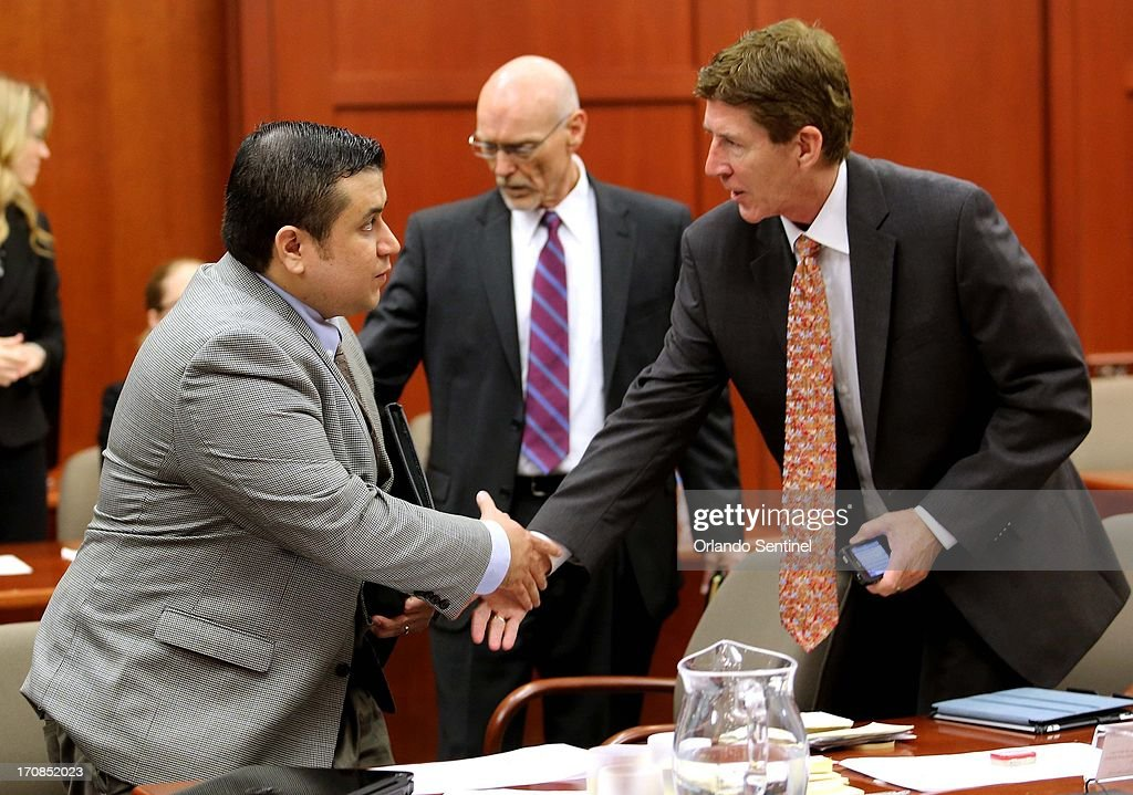 George Zimmerman is greeted by defense attorneys Mark O'Mara right and Don West as he arrives in Seminole circuit court on the eighth day of his...