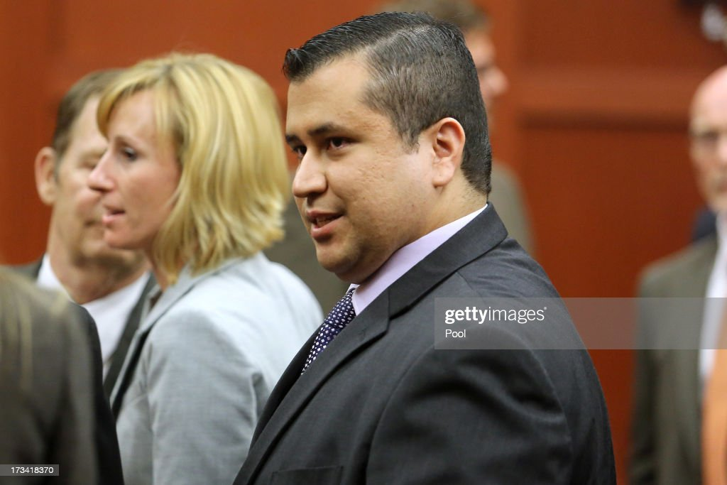 <a gi-track='captionPersonalityLinkClicked' href=/galleries/search?phrase=George+Zimmerman&family=editorial&specificpeople=9042868 ng-click='$event.stopPropagation()'>George Zimmerman</a> leaves the courtroom a free man after being found not guilty, on the 25th day of his trial at the Seminole County Criminal Justice Center July 13, 2013 in Sanford, Florida. Zimmerman was charged with second-degree murder in the 2012 shooting death of Trayvon Martin.