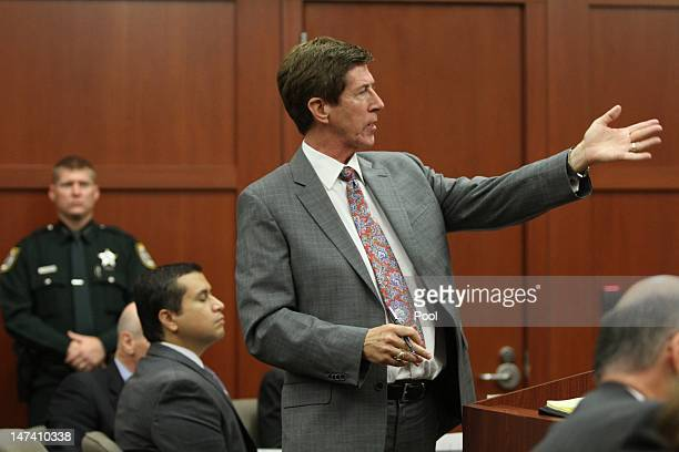 George Zimmerman sits while attorney Mark O'Mara argues in his defense during his bond hearing in Seminole County Court on June 29 2012 in Sanford...