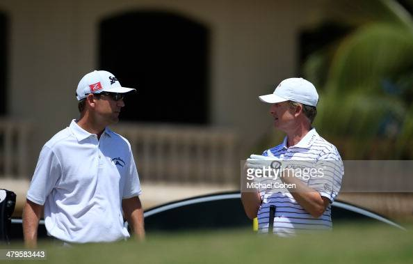 GeorgeMcNeill and David Toms talk on the tee box during the final round of the Puerto Rico Open presented by seepuertoricocom held at Trump...