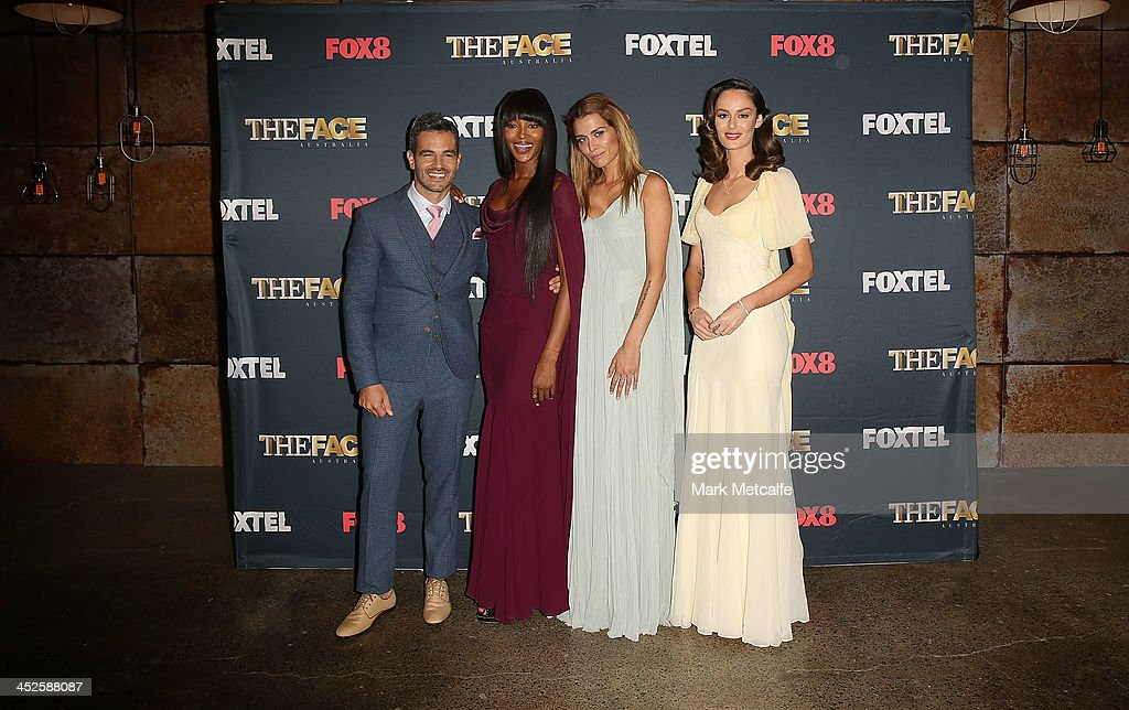 Georges Antoni, Naomi Campbell, Cheyenne Tozzi and Nicole Trunfio pose during a photo call for Australian TV show, 'The Face of Australia' at Carriage Works on November 30, 2013 in Sydney, Australia.