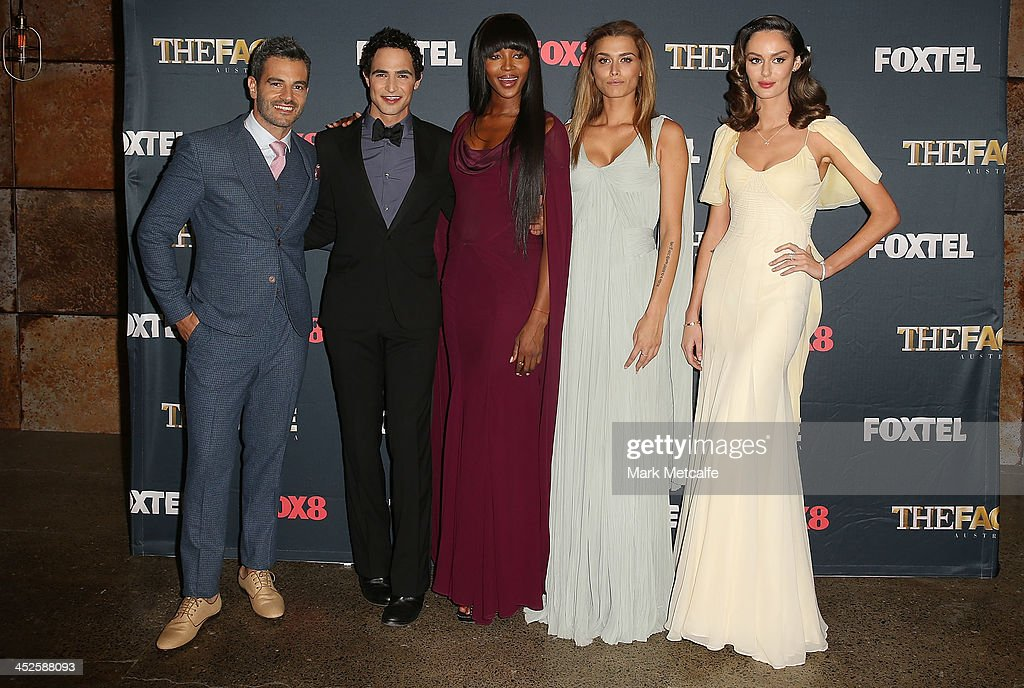 Georges Antoni, Zac Posen,Naomi Campbell, Cheyenne Tozzi and Nicole Trunfio pose during a photo call for Australian TV show, 'The Face of Australia' at Carriage Works on November 30, 2013 in Sydney, Australia.