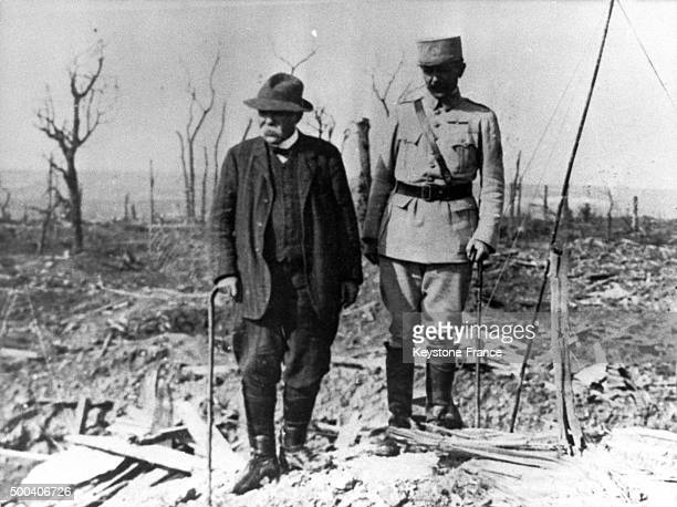 Georges Clemenceau and his son Michel Clemenceau in the Somme military front 1918 in France