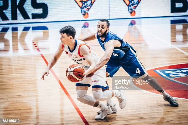 Georges Darwiche and Jonathan Person during the LNBM Men's National Basketball League game between CSM Steaua Bucharest and BC Mures TarguMures at...