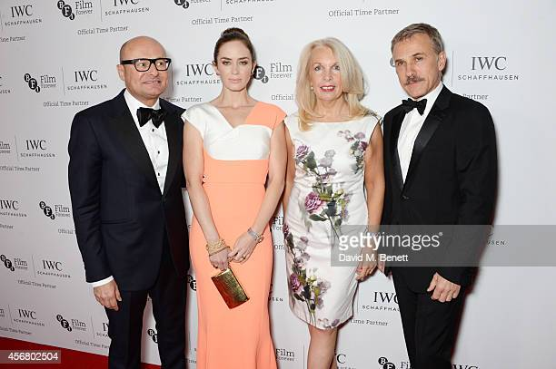 Georges Kern CEO IWC Schaffhausen Emily Blunt Amanda Nevill CEO of the BFI and Christoph Waltz attend the BFI London Film Festival IWC Gala Dinner in...