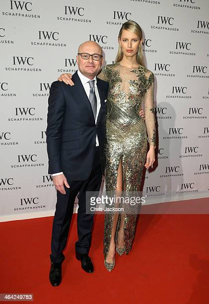 Georges Kern CEO of IWC Schaffhausen and Karolina Kurkova attend the IWC Inside The Wave Gala during the Salon International de la Haute Horlogerie...