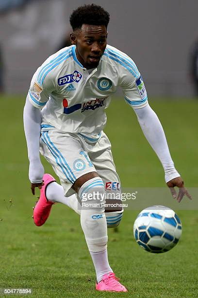 Georges Kevin Nkoudou for Marseille in action during the French League Cup quarter final between Toulouse and Marseille at Stadium Municipal on...