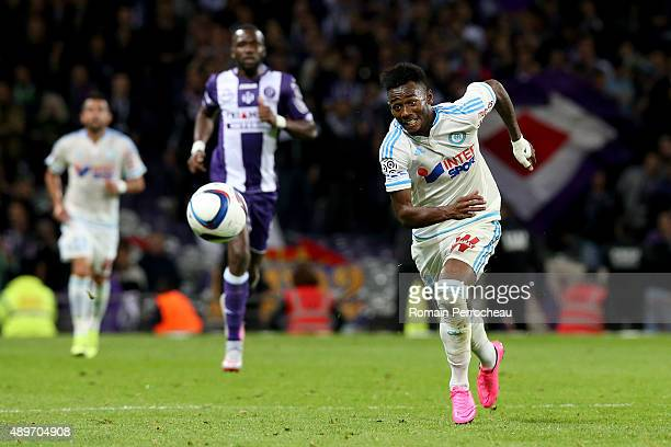 Georges Kevin Nkoudou for Olympique de Marseille during the French Ligue 1 game between Toulouse FC and Olympique de Marseille at Stadium Municipal...
