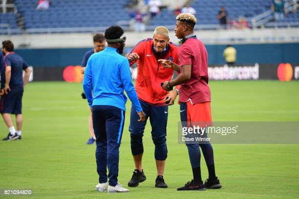 Georges Kevin Nkoudou of Spurs Alphonse Areola of PSG and Kimpembe Presnel of PSG who all played together for the France under 21s team before the...