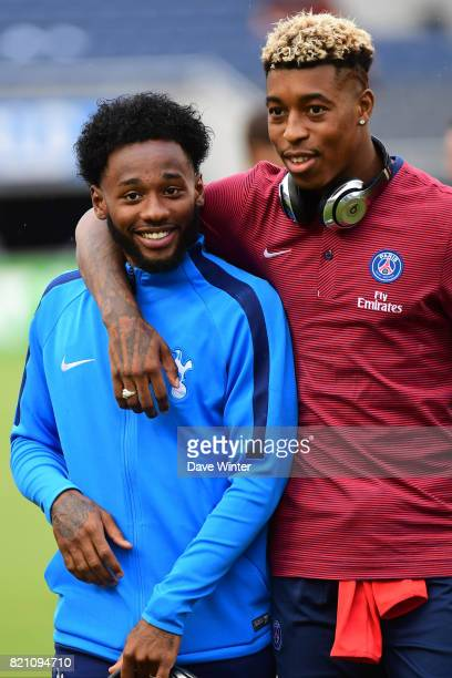 Georges Kevin Nkoudou of Spurs and Kimpembe Presnel of PSG who played together for the France under 21s team before the International Champions Cup...