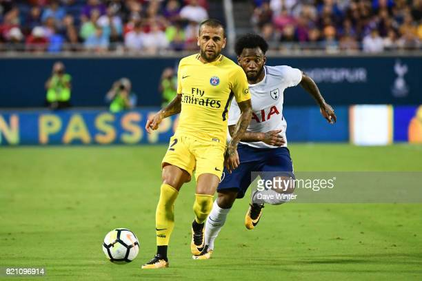 Georges Kevin Nkoudou of Tottenham and Daniel Dani Alves of PSG during the International Champions Cup match between Paris Saint Germain and...