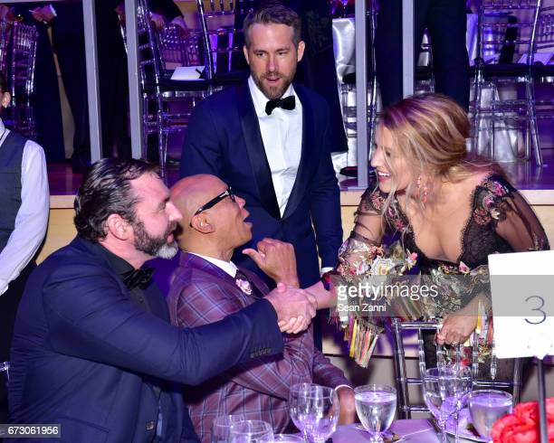Georges LeBar RuPaul Ryan Reynolds and Blake Lively attend the 2017 TIME 100 Gala at Jazz at Lincoln Center on April 25 2017 in New York City
