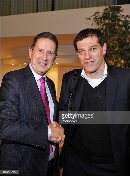 Georges Leekenshead coach of Belgium and Slaven Bilic head coach of Croatia attend the FIFA World Cup Group A Fixture Meeting on November 23 2011in...