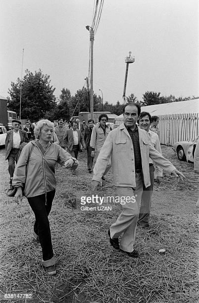 Georges Marchais et sa femme Liliane à la Fête de l'Humanité à La Courneuve France le 8 septembre 1979