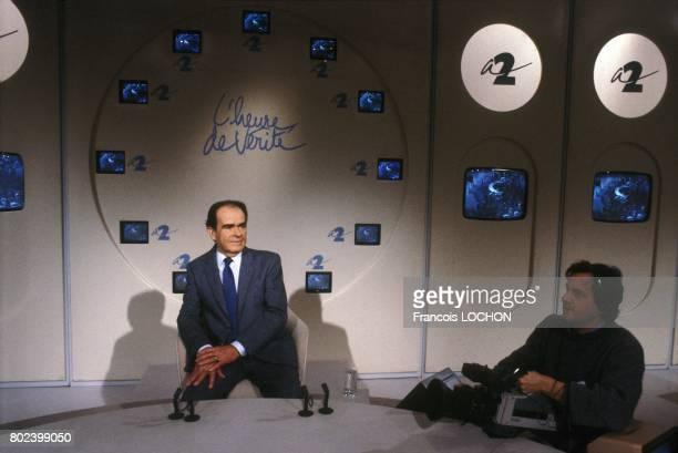 Georges Marchais secrétaire general du PCF invité à l'émission télévisée 'L'Heure de vérité' sur A2 le 25 février 1987 à Paris France