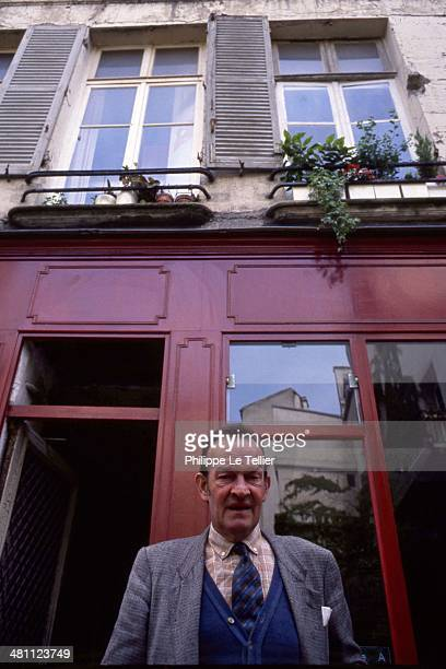 Georges Mellot is tramp and friend of President Francois Mitterrand Here at the entrance of the coffee Bievre where he offered coffee at President...