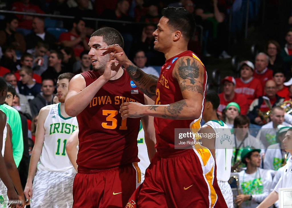 Georges Niang #31 and Chris Babb #2 of the Iowa State Cyclones celebrate after a play in the second half against the Notre Dame Fighting Irish during the second round of the 2013 NCAA Men's Basketball Tournament at UD Arena on March 22, 2013 in Dayton, Ohio.