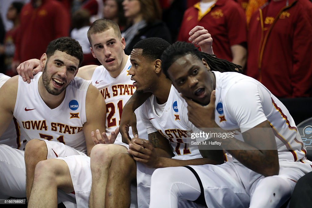 <a gi-track='captionPersonalityLinkClicked' href=/galleries/search?phrase=Georges+Niang&family=editorial&specificpeople=10061173 ng-click='$event.stopPropagation()'>Georges Niang</a> #31, Matt Thomas #21, <a gi-track='captionPersonalityLinkClicked' href=/galleries/search?phrase=Monte+Morris&family=editorial&specificpeople=9612438 ng-click='$event.stopPropagation()'>Monte Morris</a> #11 and Jameel McKay #1 of the Iowa State Cyclones celebrate from the bench late in the second half against the Arkansas Little Rock Trojans during the second round of the 2016 NCAA Men's Basketball Tournament at the Pepsi Center on March 19, 2016 in Denver, Colorado.