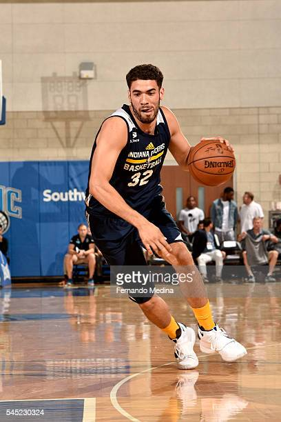 Georges Niang of Indiana Pacers drives to the basket during the game against the Oklahoma City Thunder during the 2016 NBA Orlando Summer League on...