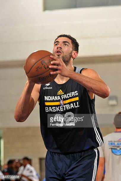 Georges Niang of Indiana Pacers shoots a free throw during the game against the Oklahoma City Thunder during the 2016 NBA Orlando Summer League on...
