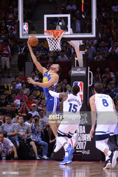 Georges Niang of the Golden State Warriors drives to the basket against the Minnesota Timberwolves as part of 2017 NBA Global Games China on October...