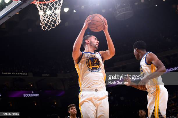 Georges Niang of the Golden State Warriors gets the rebound during the game against the Denver Nuggets during a preseason game on September 30 2017...