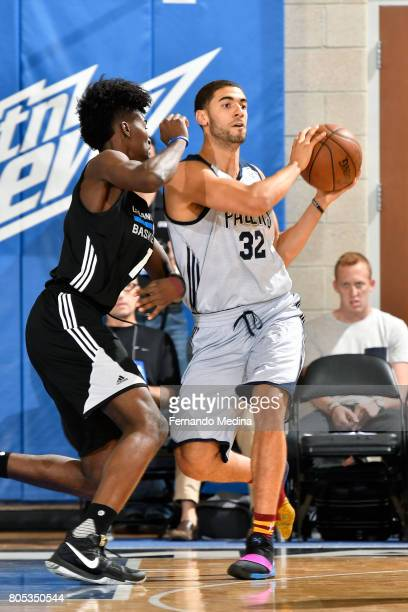 Georges Niang of the Indiana Pacers handles the ball during the game against the Orlando Magic during the 2017 Orlando Summer League on July 1 2017...