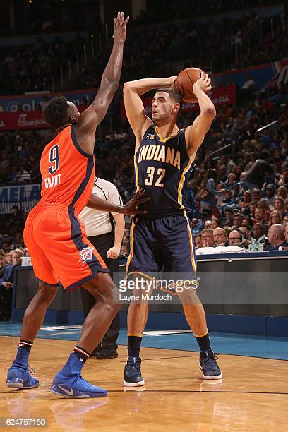 Georges Niang of the Indiana Pacers looks to pass against the Oklahoma City Thunder on November 20 2016 at Chesapeake Energy Arena in Oklahoma City...