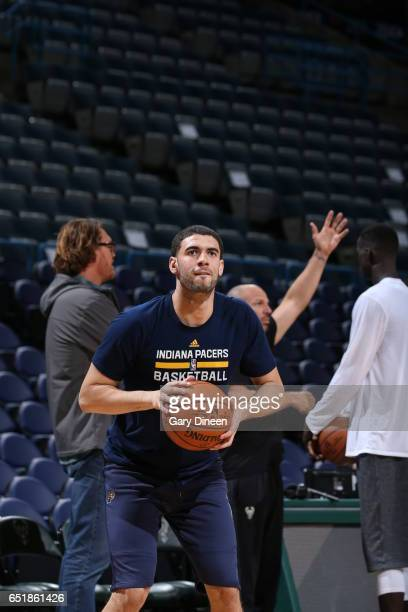 Georges Niang of the Indiana Pacers warms up before the game against the Milwaukee Bucks on March 10 2017 at the BMO Harris Bradley Center in...