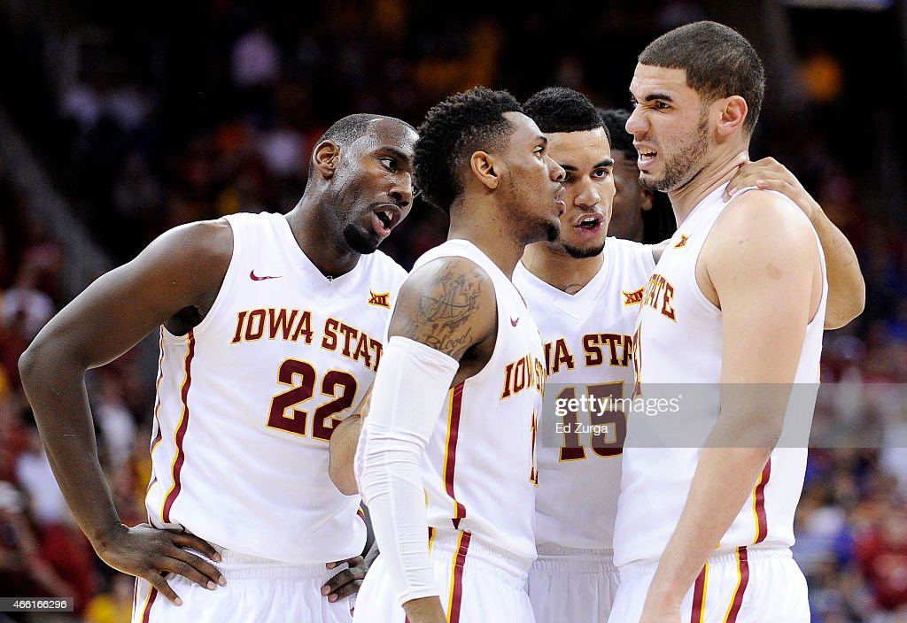 <a gi-track='captionPersonalityLinkClicked' href=/galleries/search?phrase=Georges+Niang&family=editorial&specificpeople=10061173 ng-click='$event.stopPropagation()'>Georges Niang</a> #31 of the Iowa State Cyclones and teammates react in the second half against the Oklahoma Sooners during a semifinal game of the 2015 Big 12 Basketball Tournament at Sprint Center on March 13, 2015 in Kansas City, Missouri.
