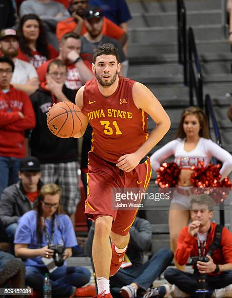 Georges Niang of the Iowa State Cyclones brings the ball up court during the first half against the Texas Tech Red Raiders on February 10 2016 at...
