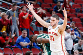 Georges Niang of the Iowa State Cyclones reacts after hitting a three pointer against the UAB Blazers during the second round of the 2015 NCAA Men's...