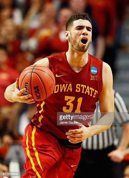 Georges Niang of the Iowa State Cyclones reacts after receiving his fourth foul in the second half against the Virginia Cavaliers during the 2016...