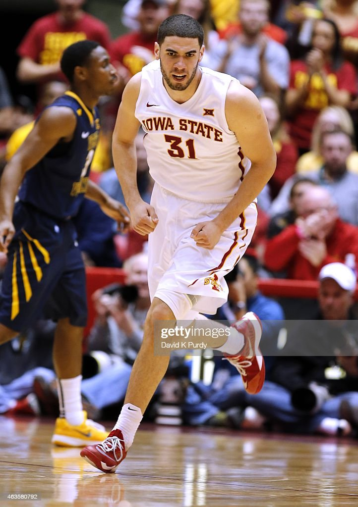 <a gi-track='captionPersonalityLinkClicked' href=/galleries/search?phrase=Georges+Niang&family=editorial&specificpeople=10061173 ng-click='$event.stopPropagation()'>Georges Niang</a> #31 of the Iowa State Cyclones reacts after scoring a basket in the second half of play against the West Virginia Mountaineers at Hilton Coliseum on February 14, 2015 in Ames, Iowa. Iowa State defeated the West Virginia Mountaineers 79-59.