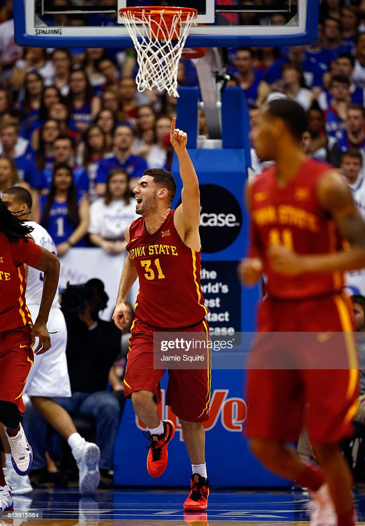 <a gi-track='captionPersonalityLinkClicked' href=/galleries/search?phrase=Georges+Niang&family=editorial&specificpeople=10061173 ng-click='$event.stopPropagation()'>Georges Niang</a> #31 of the Iowa State Cyclones reacts after scoring during the game against the Kansas Jayhawks at Allen Fieldhouse on March 5, 2016 in Lawrence, Kansas.