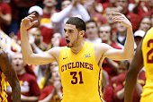 Georges Niang of the Iowa State Cyclones reacts after sinking a threepoint shot in the first half of play against the Kansas State Wildcats at Hilton...