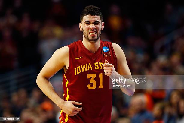 Georges Niang of the Iowa State Cyclones reacts in the second half against the Virginia Cavaliers during the 2016 NCAA Men's Basketball Tournament...